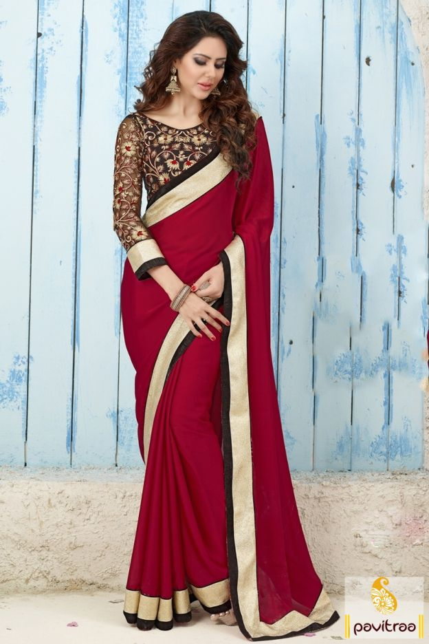 8656aa51f7 Pick this fancy red satin saree online with discount price in India. This plain  saree