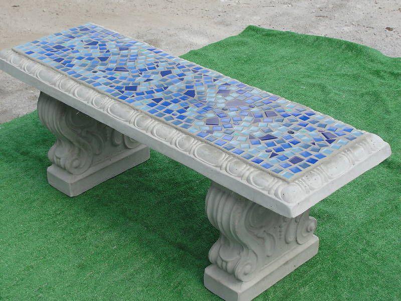Wondrous Concrete Mosaic Bench Tile Garden Retro Vintage Stone Inzonedesignstudio Interior Chair Design Inzonedesignstudiocom