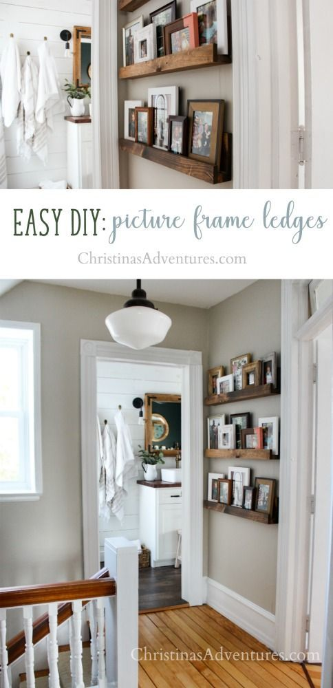 Learn how to make this easy DIY project - picture frame ledges! The perfect hallway decor theyre a great and flexible alternative to a gallery wall. Easy and budget friendly! #style #shopping #styles #outfit #pretty #girl #girls #beauty #beautiful #me #cute #stylish #photooftheday #swag #dress #shoes #diy #design #fashion #homedecor