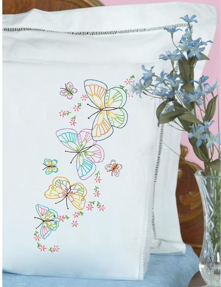 Jack Dempsey Needle Art Fluttering Butterflies Lace Edge Pillowcases Embroidery Kit. Each package contains one