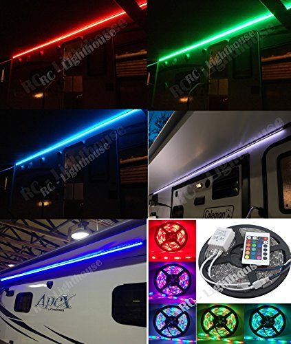 RV Awning Camper Recreational Vehicle RGB LED Lights 6 Feet Of Strips With 24 Key IR Remote Control RC Lighthouse Amazon Dp B00T