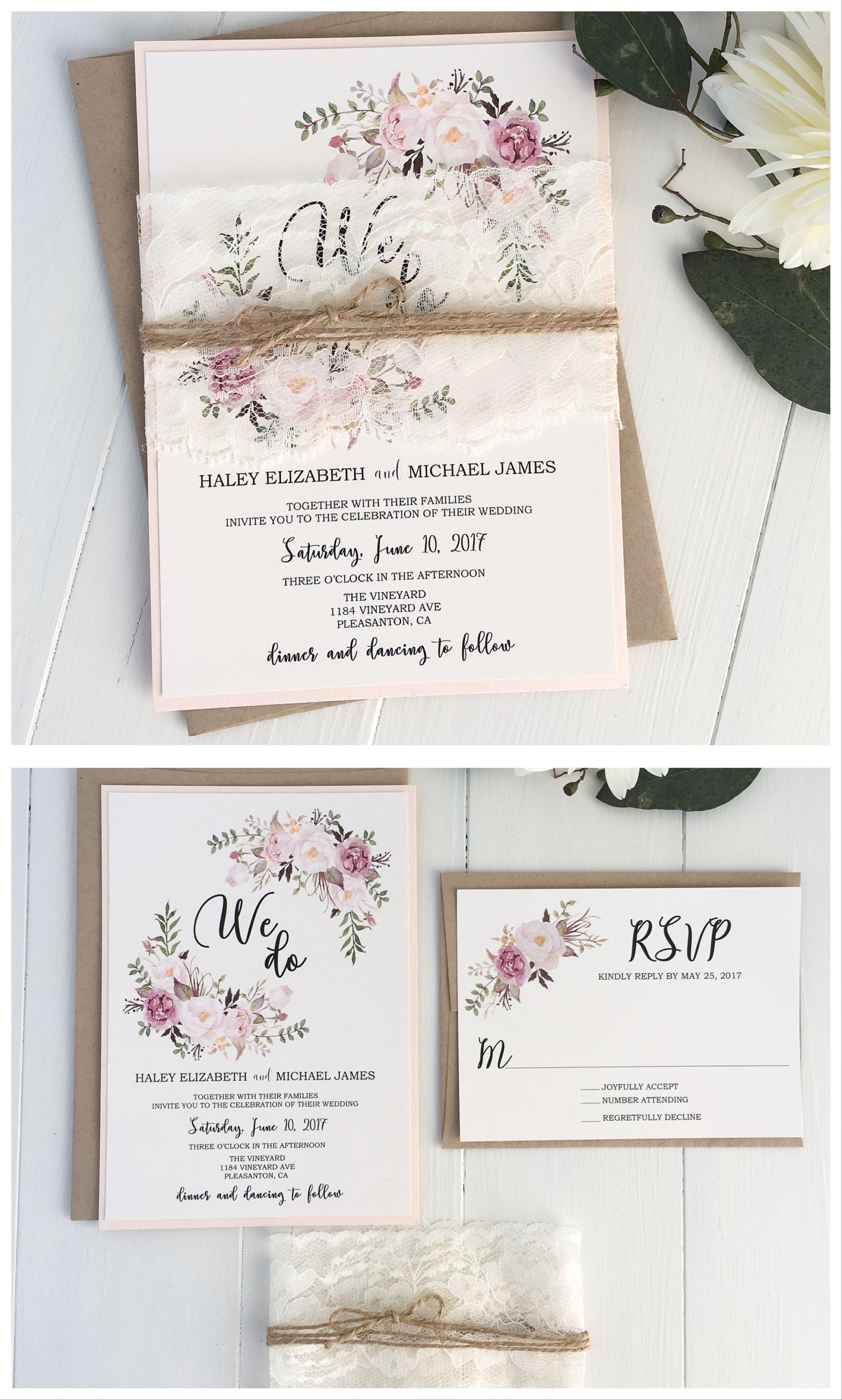 Pink Floral Invitation, We Do | Blush pink weddings, Floral wedding ...