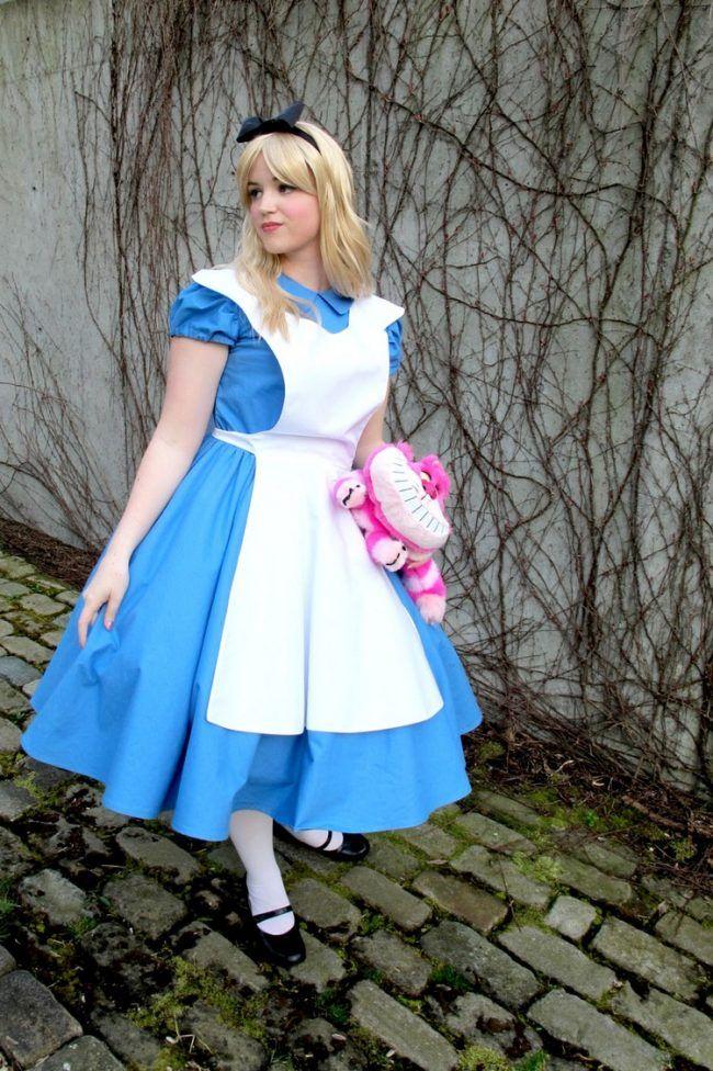 Alice im Wunderland Kostüm blaues-kleid-weiße-schürze ...