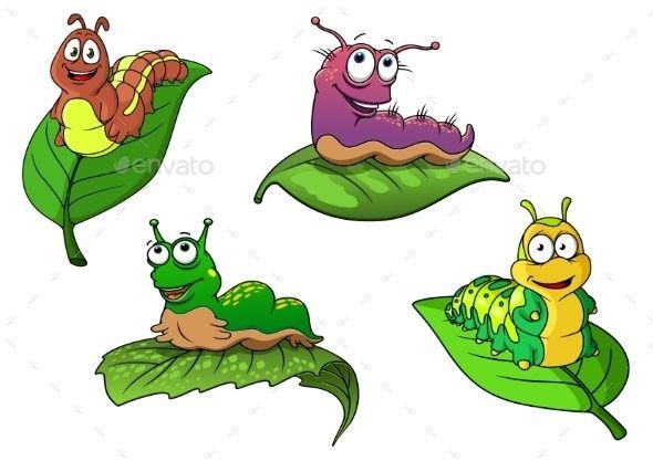 Cheerful Cartoon Caterpillars Characters Caterpillar Cartoon