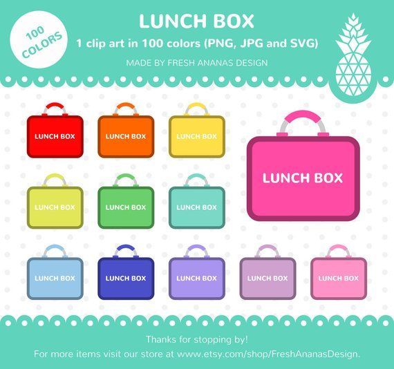 100 Colors Clip Art Lunch Box, Food Clipart, Lunch, Food, Clipart