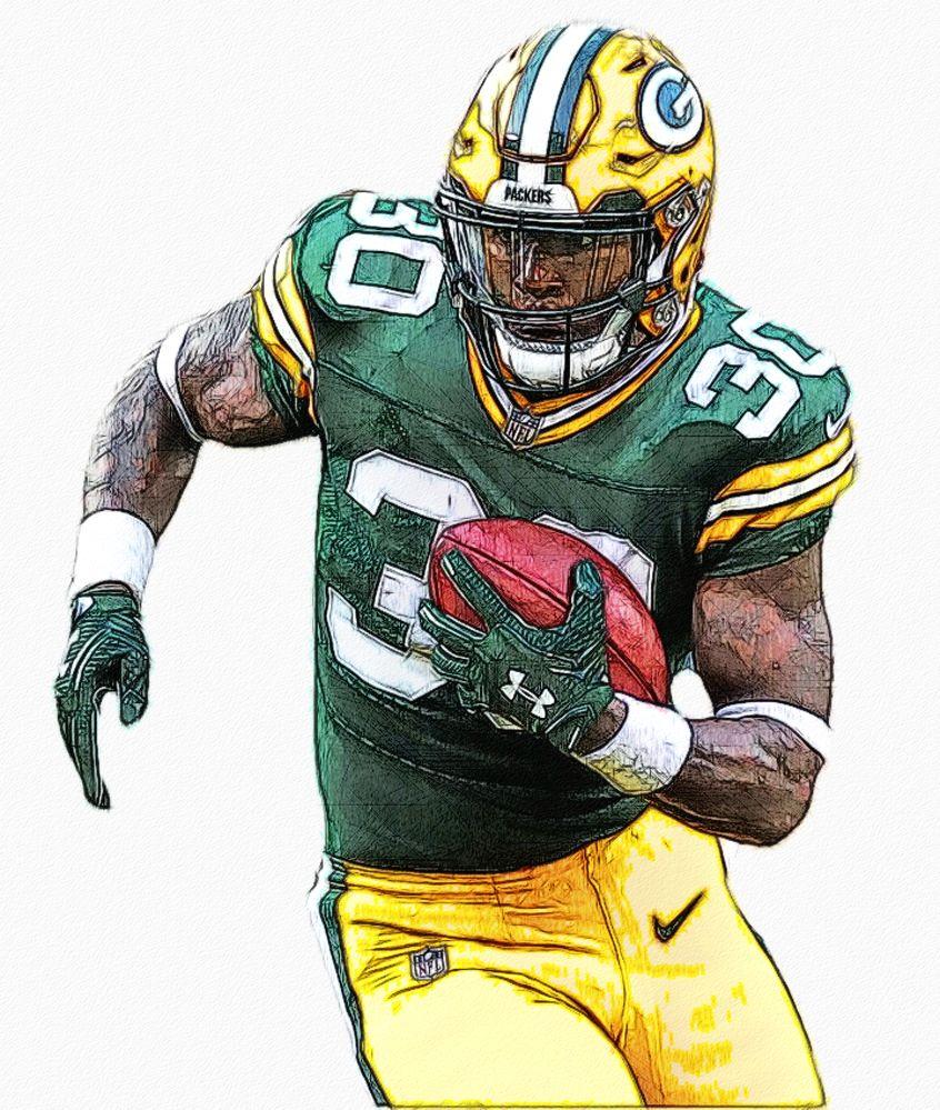 Jamaal Williams Packers Rb Football Illustration Sports Art Nfl Football