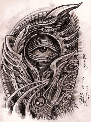 Biomechanical Eye Tattoo Design Dessin Alien Tatouage Drawing