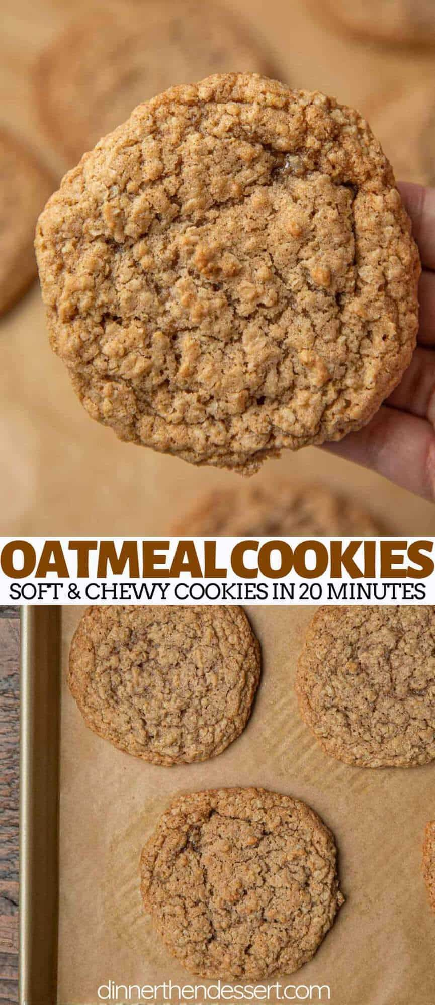Oatmeal Cookies are the BEST soft and chewy cookie recipe, made with quick cooking oats, brown sugar, cinnamon, and vanilla extract, ready in under 20 minutes! #easy #chewy #oatmeal #best #oldfashioned #withquickoats #cinnamon #dinnerthendessert #quickcookies