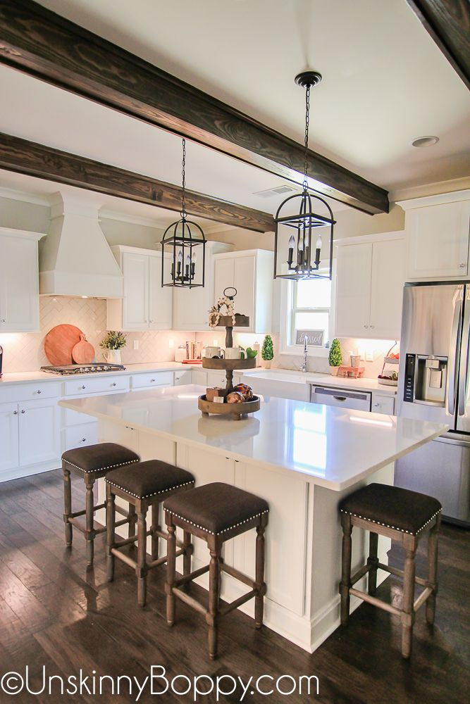 White kitchen cabinets with wooden beams | Do It Yourself Today ...