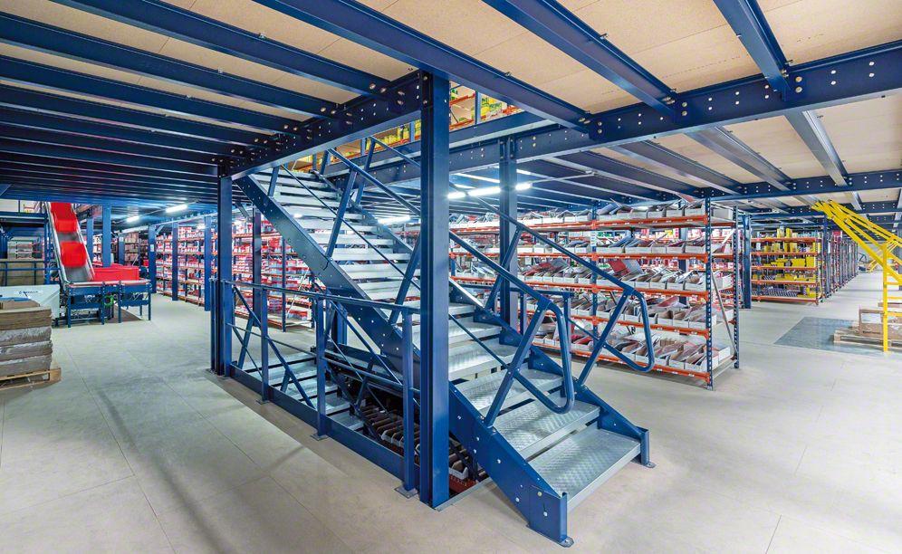 Example Of Mezzanine Solution For The Pavi Warehouse Lyon Case Studies Garage Design Building Construction House Styles