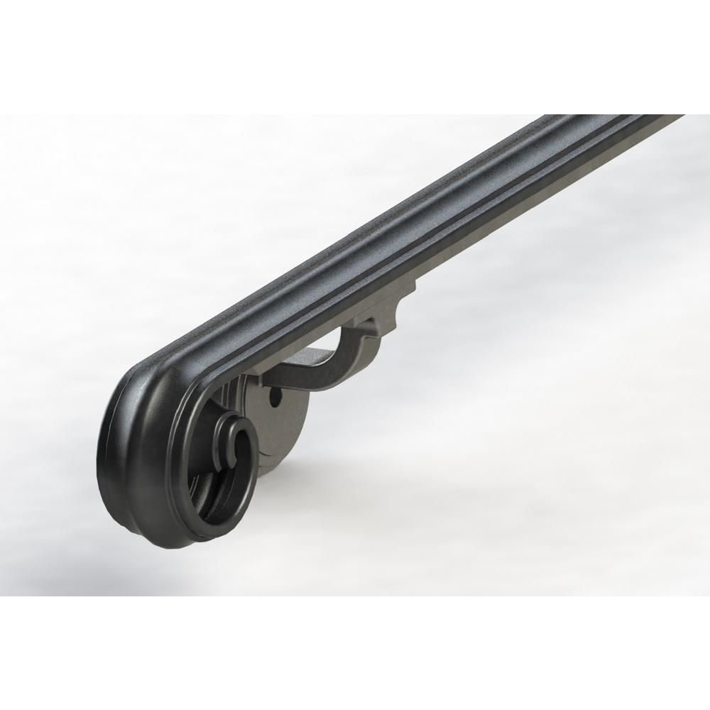 Arc And Hammer 4 Ft Scroll Wrought Iron Handrail Railing Sc4 The Home Depot In 2020 Iron Handrails Wrought Iron Handrail Handrail