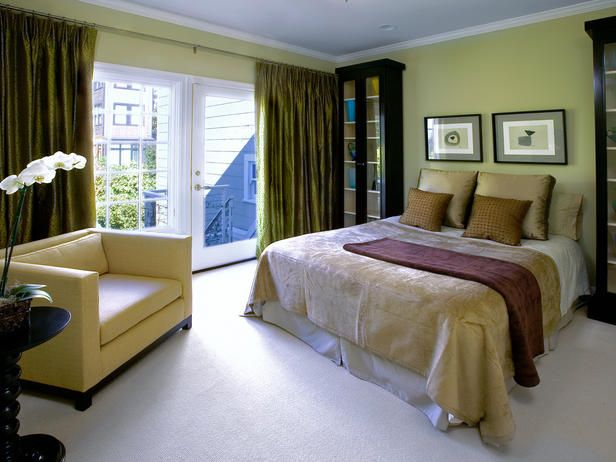 green bedroom curtins | Olive Curtain White Floor Soft Green Wall ...