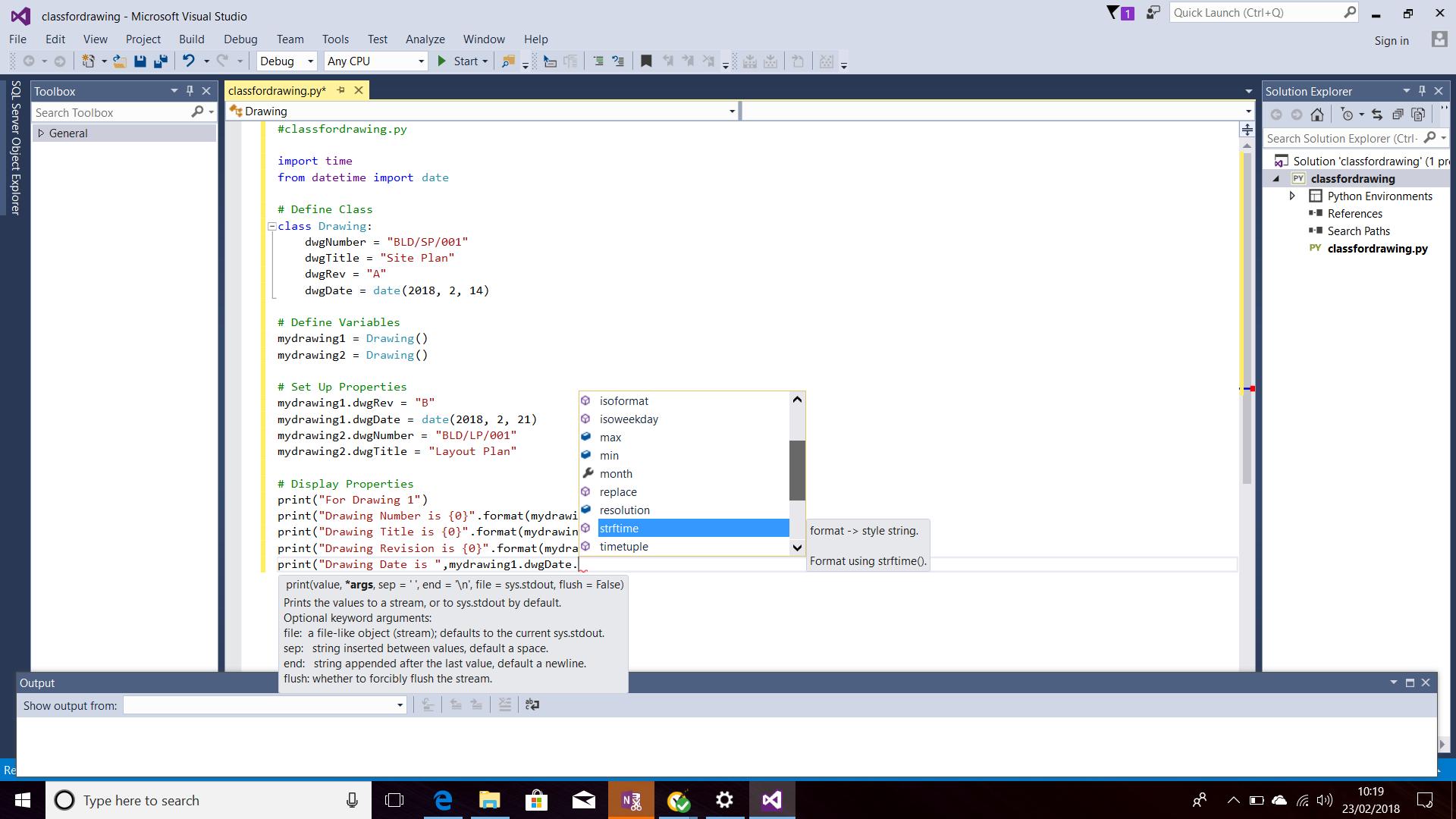 Screenshot of IntelliSense for Date Methods and Properties