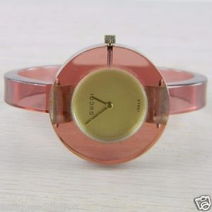2a724cbd889 RARE 1970 s Mechanical Gucci Lucite Ladies Vintage Estate Bracelet Watch  FN-W48 in Jewelry   Watches