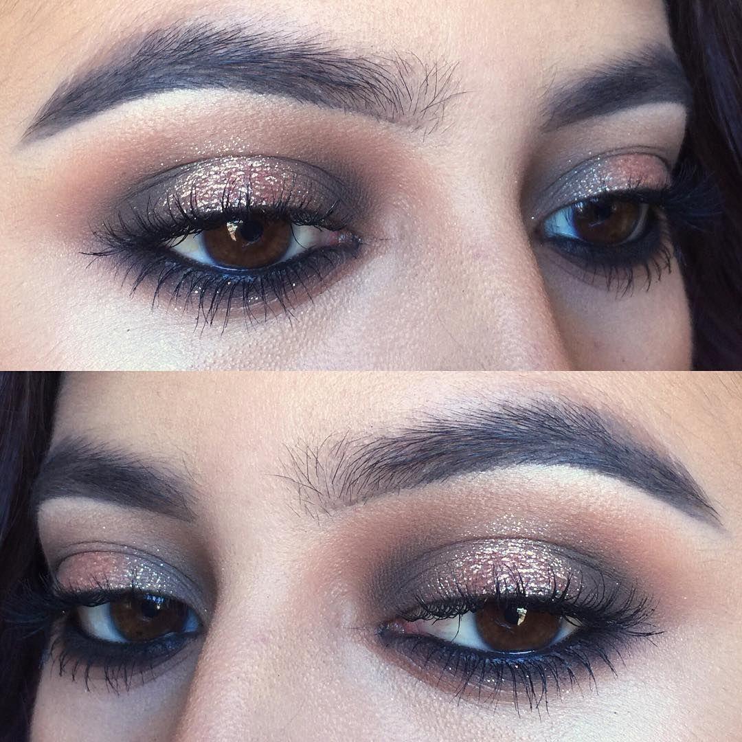 blown out charcoal grey smokey eye w/ gold shimmer hal
