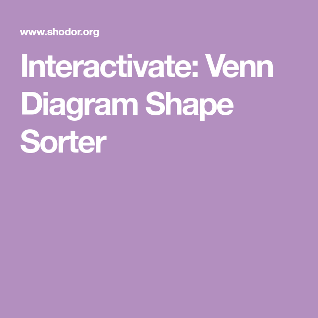 Interactivate Venn Diagram Shape Sorter Teaching Math Pinterest