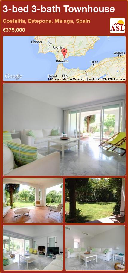 3-bed 3-bath Townhouse in Costalita, Estepona, Malaga, Spain ►€375,000 #PropertyForSaleInSpain