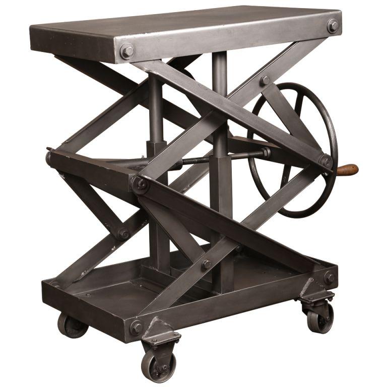 17 Best Images About Rolling Work Tables On Pinterest: Vintage Industrial Adjustable Steel Factory Scissor Lift