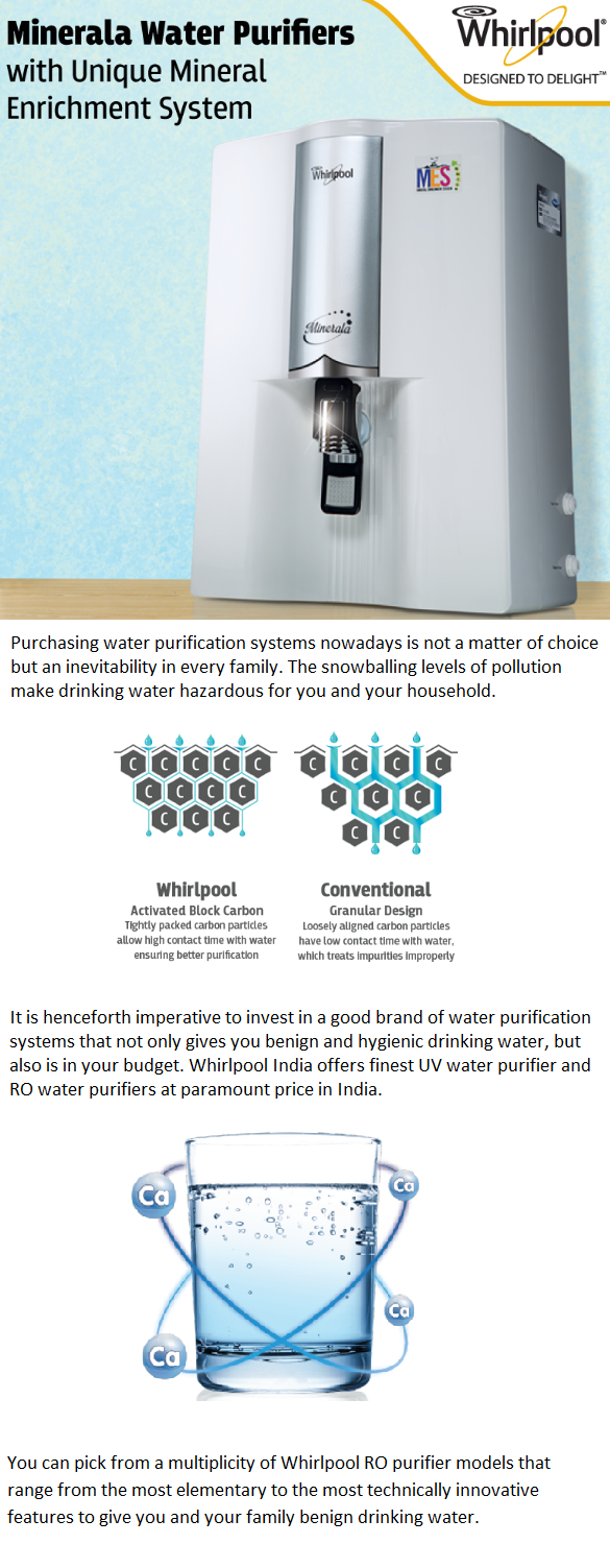 Whirlpool RO purifier models that range from the most