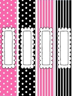 Pink and Black Binder Covers and Spine Labels! | labels ...