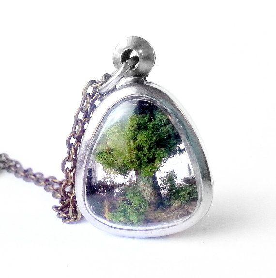 Tree Necklace Tree Sculpture Locket Necklace by CrystalynsDreamery