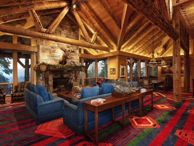 Lots of color in a very rustic log home-Huntsman Estate- Park City UT