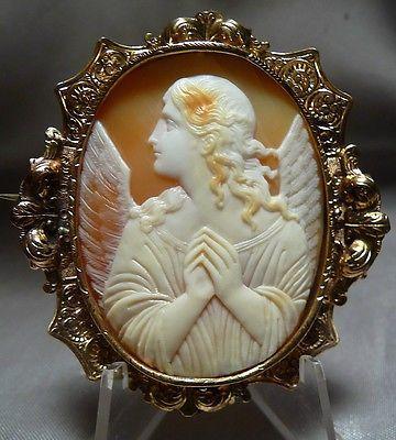 A MASTERPIECE! ANTIQUE ARCHANGEL ST GABRIEL ANNUNCIATION SHELL CAMEO PIN PENDANT - http://designerjewelrygalleria.com/gabriel-company/a-masterpiece-antique-archangel-st-gabriel-annunciation-shell-cameo-pin-pendant/