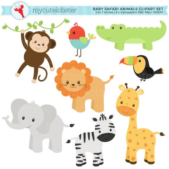 Baby Safari Animals Clipart Set Clip Art By Mycutelobsterdesigns Animal Clipart Baby Animals Animals Wild