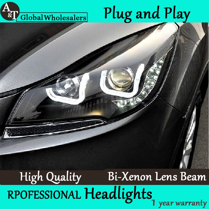 A T Car Styling For Ford Kuga Escape Headlights Double U Angel Eye