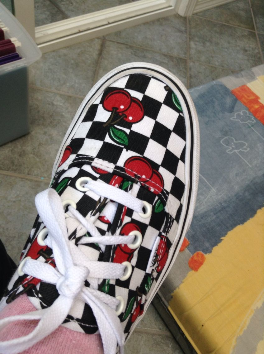 Cute cherry checker vans | Sock shoes, Cute shoes, Cute vans