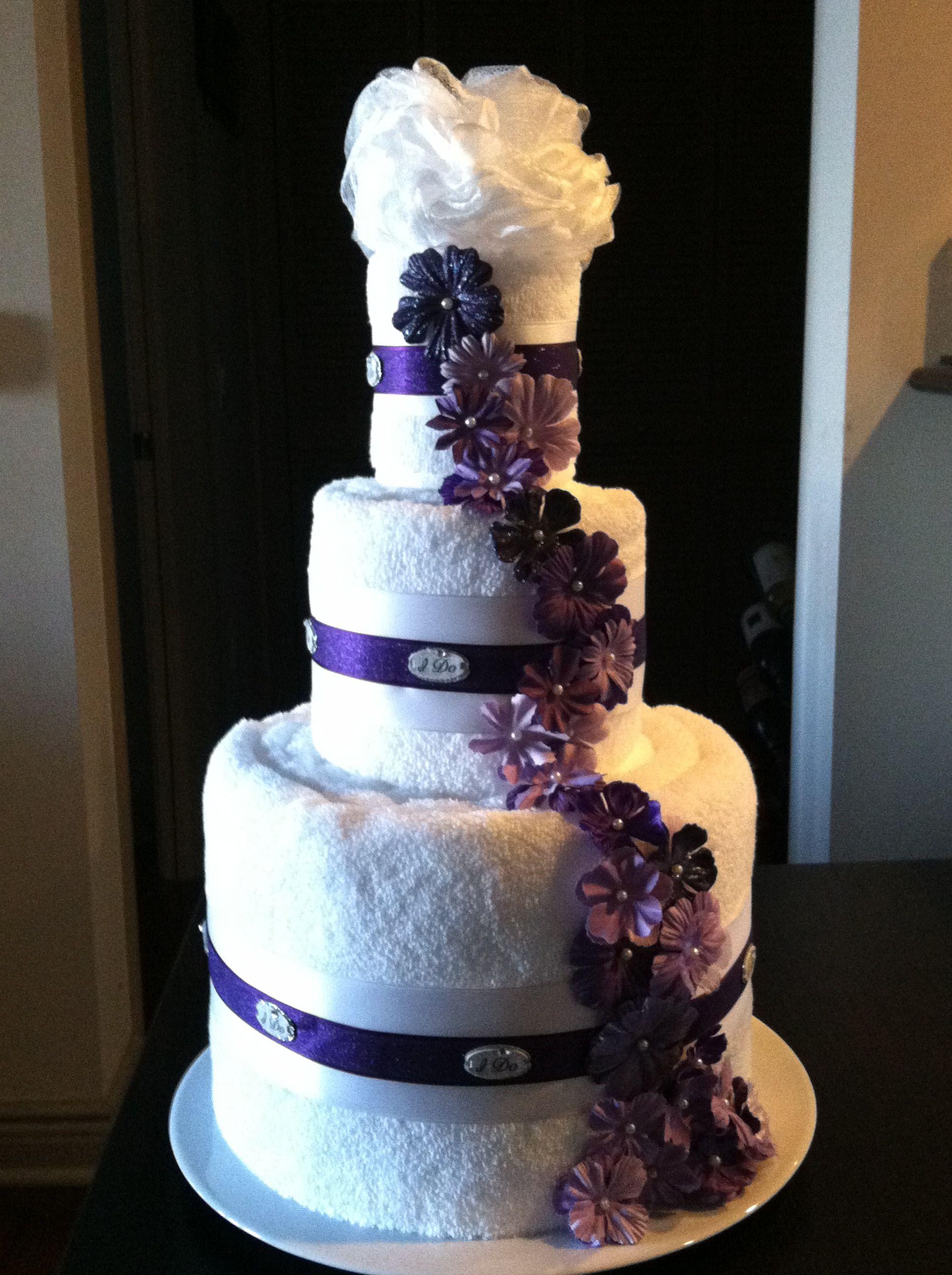 Bath towel wedding cake as bridal shower t or display