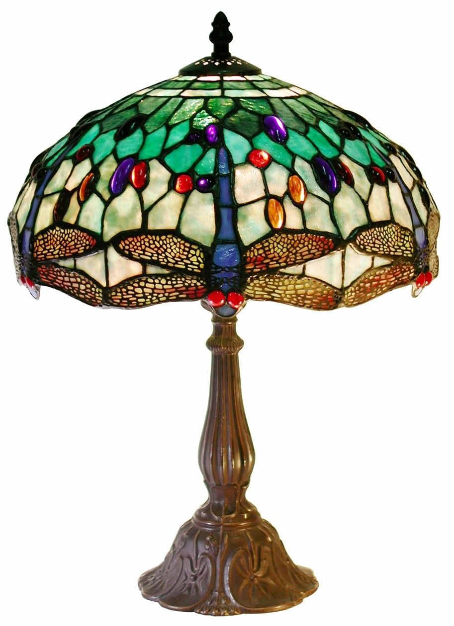 TIFFANY STYLE STAINED GLASS DRAGONFLY