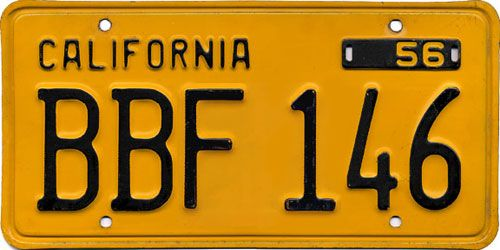 California 1950\'s Plate - Black on Yellow | SPI Insp | Registration