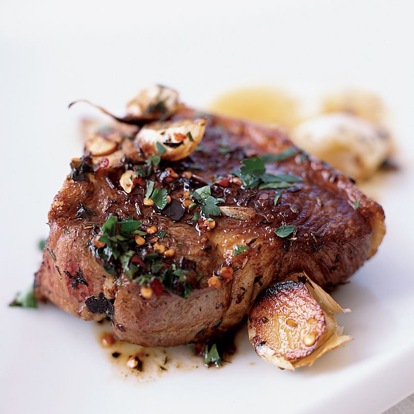 Lamb Chops Sizzled with Garlic   Food & Wine