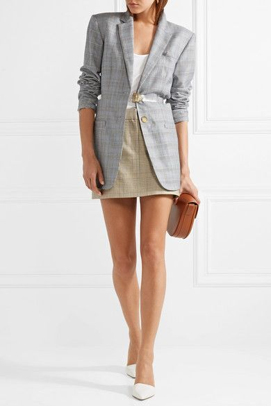 5cf00f3598de85 Tibi - Cooper Prince Of Wales Checked Wool And Silk-blend Mini Skirt -  Mustard