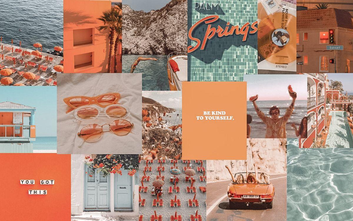 Orange And Blue Collage Aesthetic Desktop Wallpaper Desktop Wallpaper Art Laptop Wallpaper