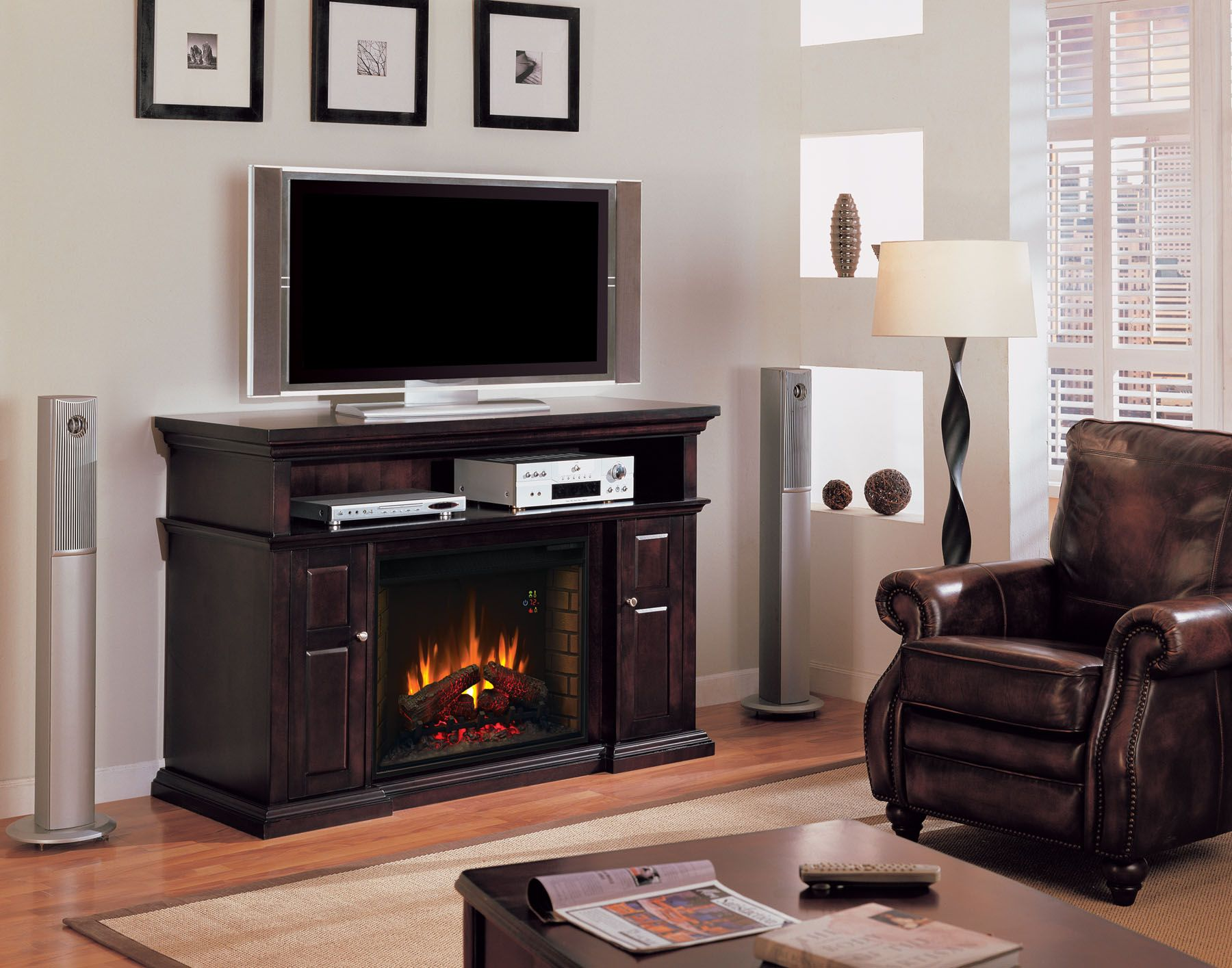 Montgomery 26in electric fireplace and tv stand cherry 26mm2490 c233 - Pasadena Home Theater Provides Audio Video Component And Media Storage Surrounding A 28