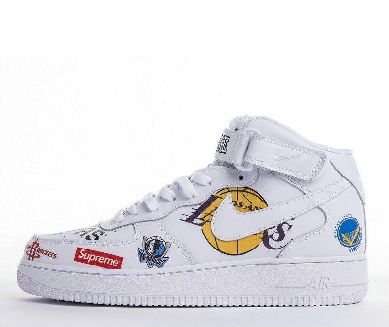 Supreme X Nba X Nike Air Force 1 High White Sneakers Zapatillas Cajones