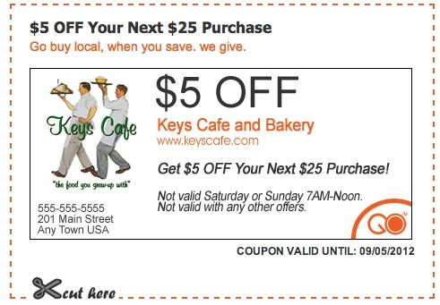 5 Off Coupon For Keys Cafe And Bakery Cafe Coupons Bakery