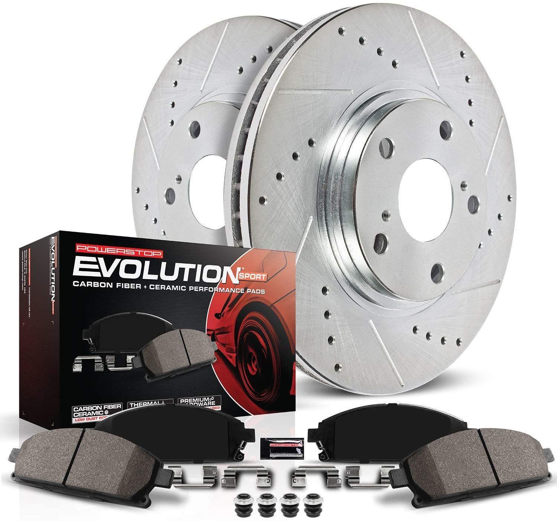 Power Stop K1631 Front Brake Kit With Drilled Slotted Brake Rotors And Evolution Ceramic Brake Pads In 2020 Power Stop Ceramic Brake Pads Brake Rotors