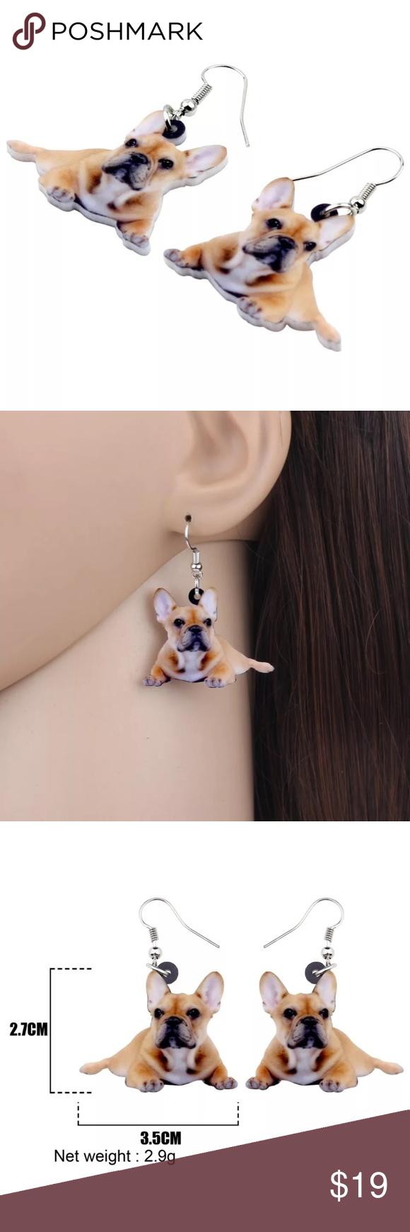 Acrylic Lying French Bulldog Dog Earrings Boutique French Bulldog Dog Dog Earrings Dog Earrings Jewelry