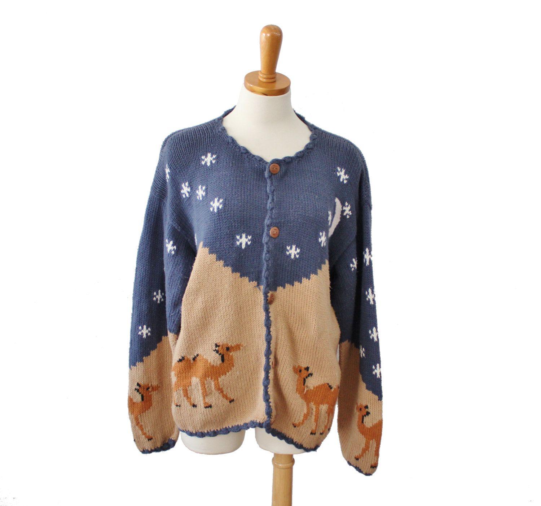 Vintage 80s REY WEAR Camel Sweater // novelty cardigan // Women ...