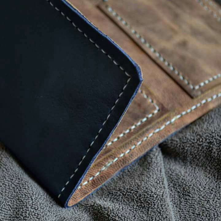 4fd26148938 My Leather Work.... Real leather. Hand crafted, hand stitched. Leather  detail of trifold card wallet.