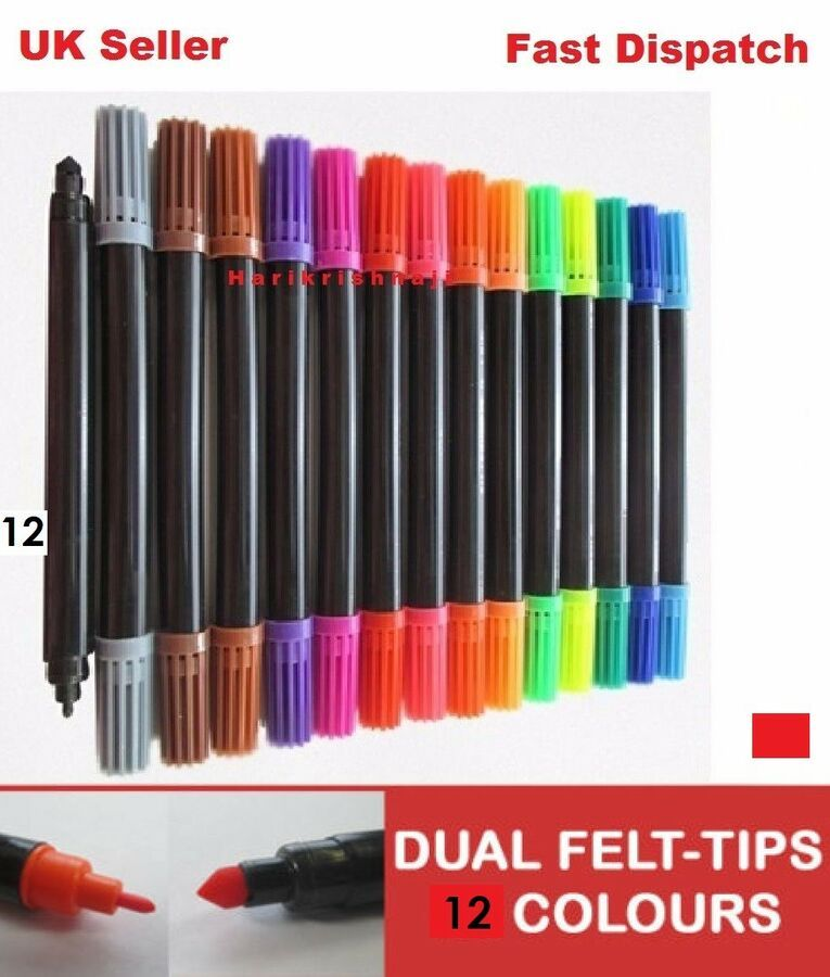 60 pcs Dual Tip Double Ended Felt Tipped Pens Fine//Thin Thick Duel Colouring