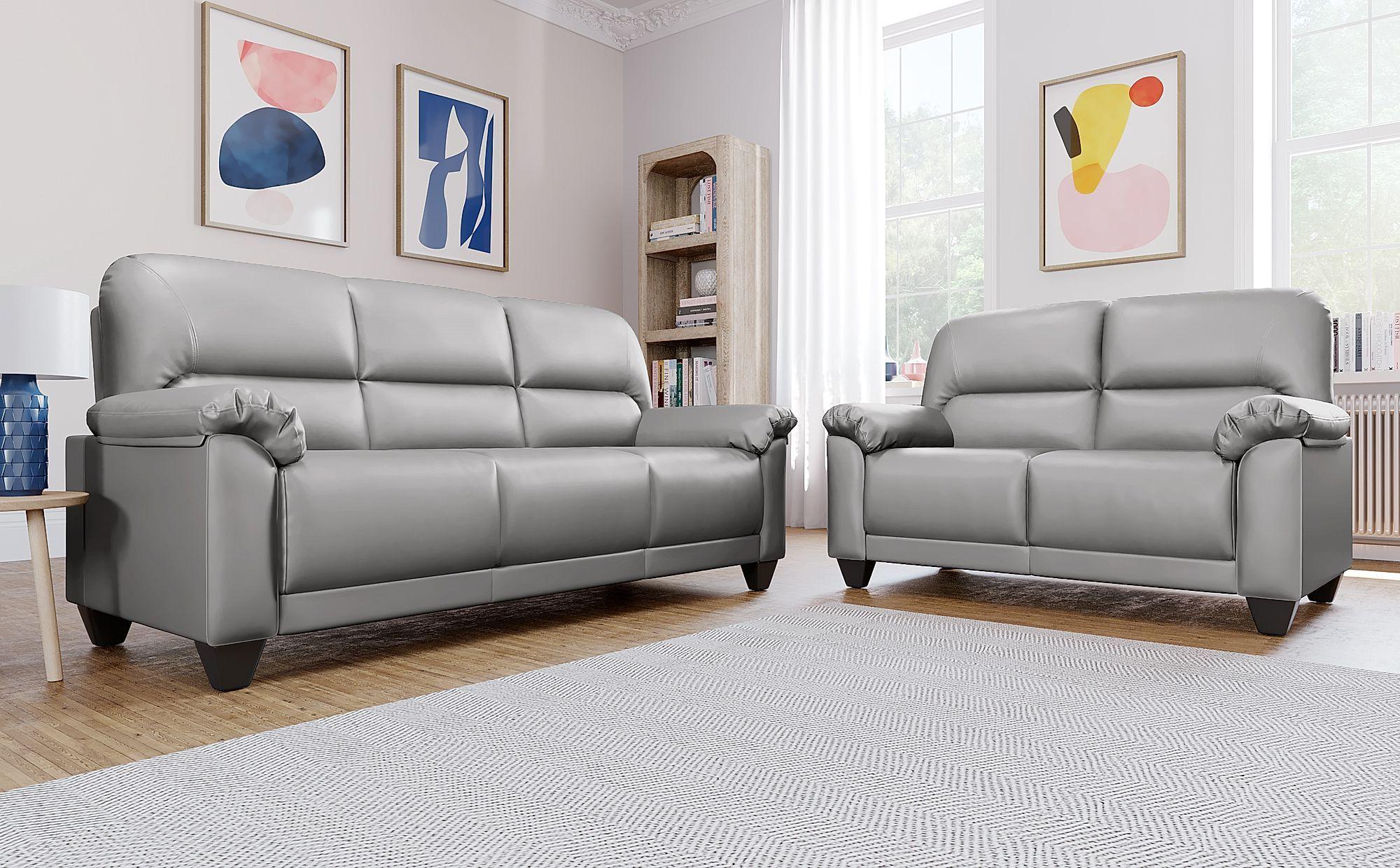 Kenton Small Light Grey Leather 3 2 Seater Sofa Set Grey Leather