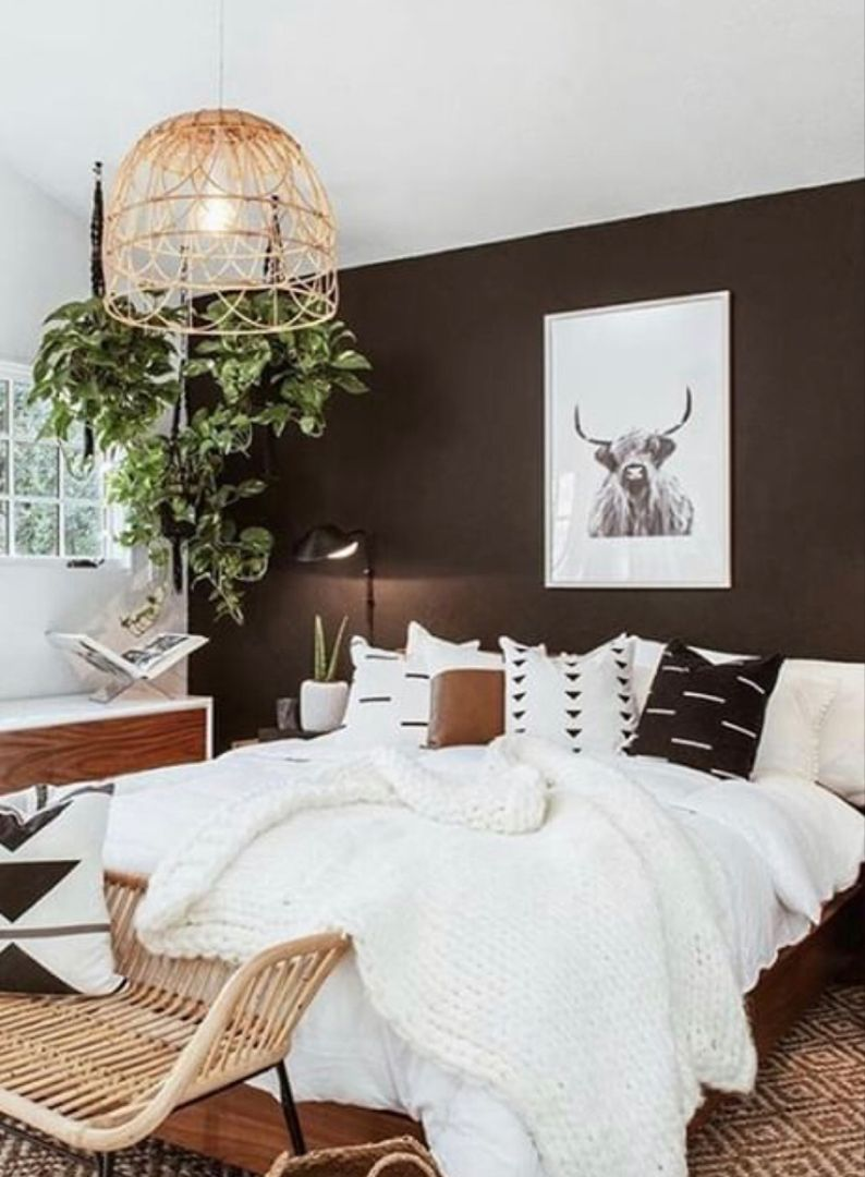 Bedroom Decor Inspiration Great Interior Design Home Accents Love The Mostly Black And Brown Bedroom Decor Gray Accent Wall Bedroom Bedroom Inspiration Grey