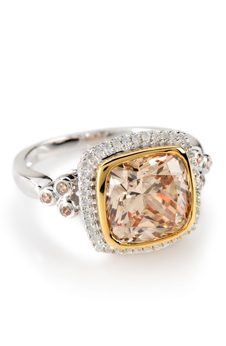 This. Is. The. Best. Champagne color diamond look with precious detailing. Knock the socks off of your friends when you show up to dinner with this baby!   7.81ctw Rhodium & 18k Yellow Gold Over Silver Ring