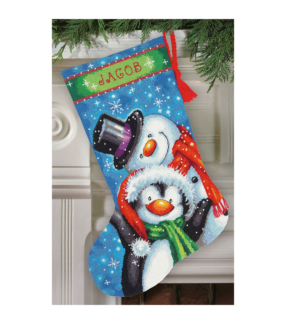 gold Stocking Cane Cross Dimensions Counted X Stitch Candy Santa Stocking