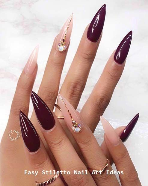 30 Great Stiletto Nail Art Design Ideas Nailart Naildesigns Stiletto Nail Art Burgundy Nails Stiletto Nails Designs