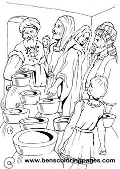 Cana Marriage Miracle Coloring Sheet Water Into Wine Coloring